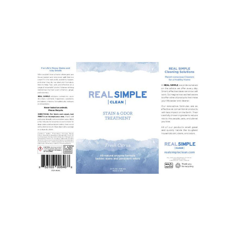 Real Simple Clean Stain and Odor Remover, 24-ounce, For Household Messy Stains and Icky Smells, Natural Essential Oil Infused, Cruelty Free and Made in USA