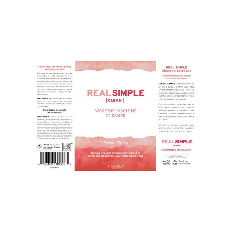 Real Simple Clean Washing Machine Cleaner & Deodorizer, Fresh Citrus 24 oz