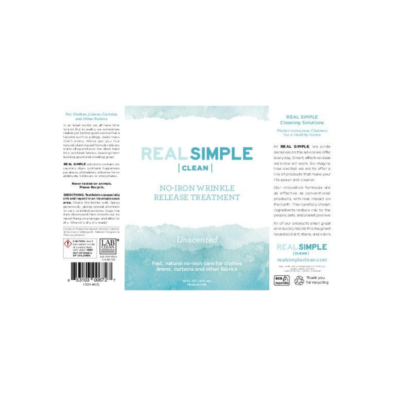 Real Simple Clean Unscented Wrinkle Release Spray