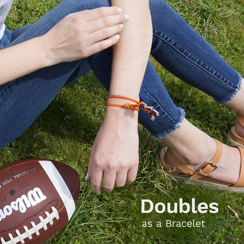 "Sporteez ""Play Action"" Sliding Ponytail Holder - Football Charms - Dark Orange Elastic, Set of 2"