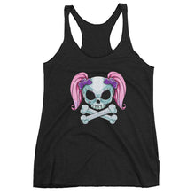 Load image into Gallery viewer, Pony tail skull Women's Racerback Tank