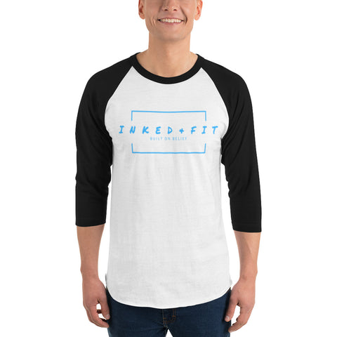 Inked and Fit Logo 3/4 sleeve raglan shirt