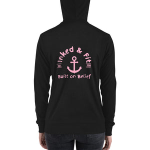 Inked and Fit Pink Logo hoodie