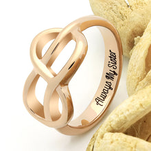 "Load image into Gallery viewer, Sister Infinity Ring, Infinity Symbol Sister Ring ""Always My Sister"" Engraved on Inside Best Gift for Sister"