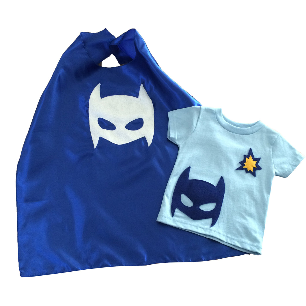 Pow - Superhero Tee & Cape Combo - Blue