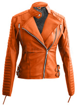 Load image into Gallery viewer, Orange Brando Women Faux Leather Jacket