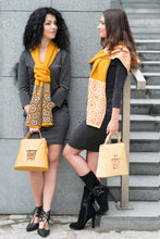 Load image into Gallery viewer, TATI BODUCH Designer Handbag, AGATE Collection, genuine leather: yellow, knitwear: pink