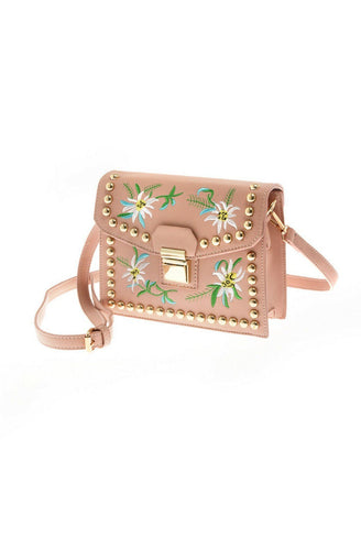 Wild Flower Embroidered Purse in Pink