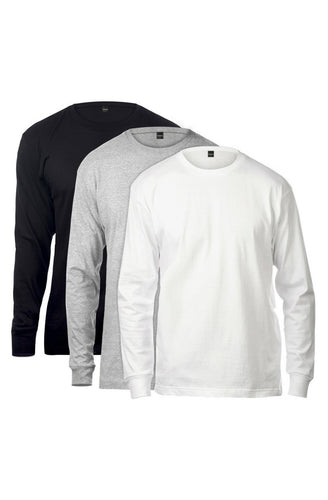 Basic Long Sleeve Tee 3 Pack (Black & White & Heather Grey) - The Funding Ninjas