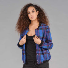 Load image into Gallery viewer, Plaid Print Bomber Jacket
