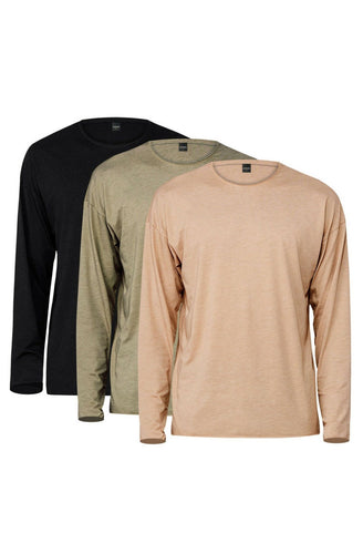 Long Sleeve Raw Hem Tee 3 Pack (Black & Khaki & Olive)