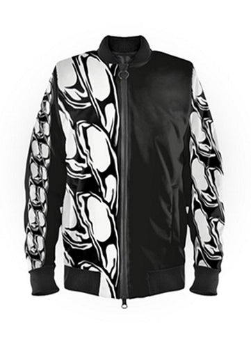 Mens Luxury Black & White Chain Bomber Jacket