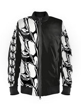 Load image into Gallery viewer, Mens Luxury Black & White Chain Bomber Jacket