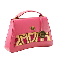 Load image into Gallery viewer, TATI BODUCH Designer Handbag, JASPER Collection, genuine leather: pink, knitwear: magenta