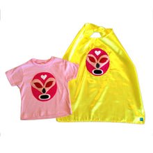 Load image into Gallery viewer, Girl Kid's Shirt- Luchador Rosa - Pink Mexican Wrestler Toddler T-Shirt & Yellow Cape Combo