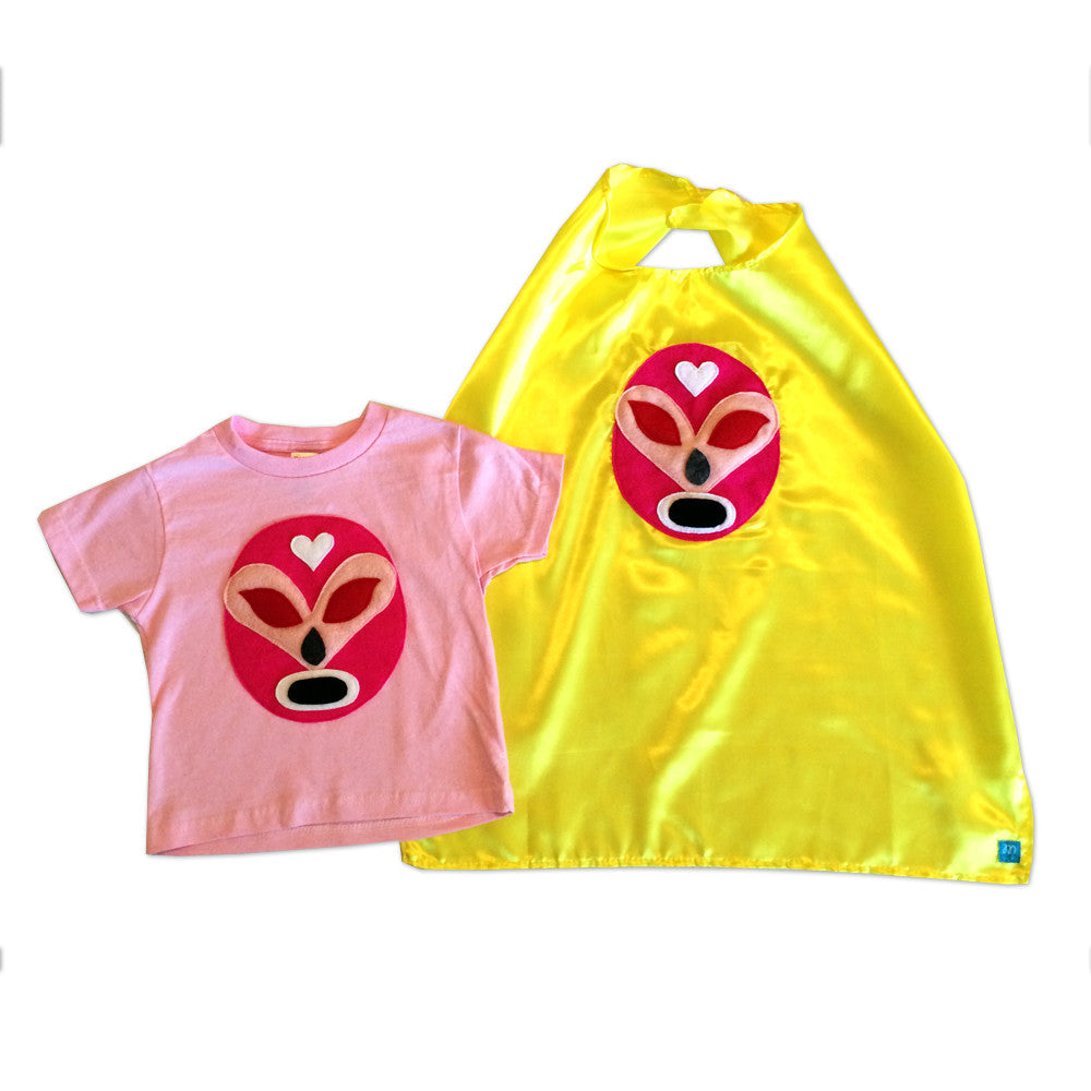 Girl Kid's Shirt- Luchador Rosa - Pink Mexican Wrestler Toddler T-Shirt & Yellow Cape Combo