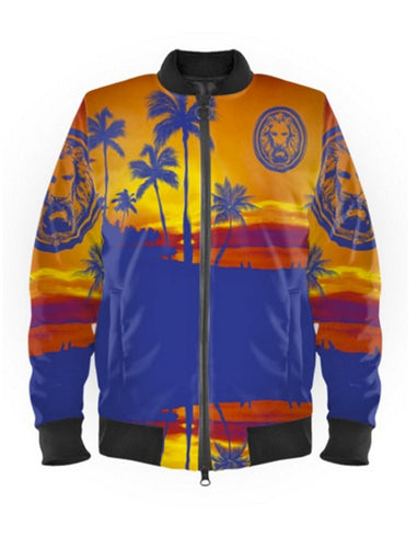 Mens Blue Palm Tree Beach Bomber Jacket