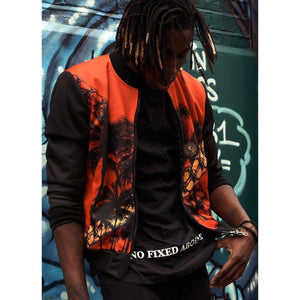 Mens Red Chain Palm Bomber Jacket