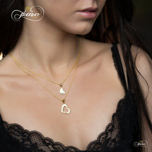 Load image into Gallery viewer, Mother Daughter Heart Necklace Set, 925 Silver, 14K Gold Plated Heart Necklaces