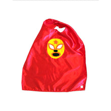 Load image into Gallery viewer, Kid's Cape and Shirt- Luchador Amarillo - Yellow Mexican Wrestler Toddler T-Shirt & Red Cape Combo