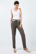 Load image into Gallery viewer, Long Khaki Pants with Cream Panel