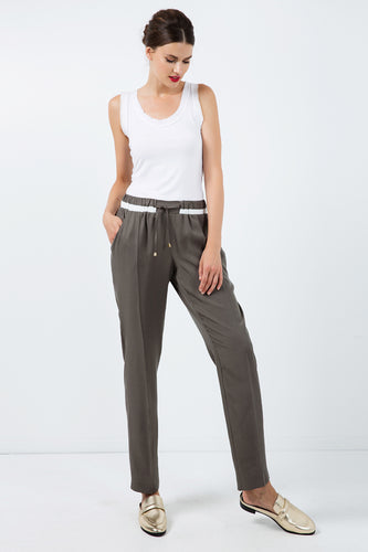 Long Khaki Pants with Cream Panel