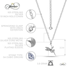 Load image into Gallery viewer, Fairy Wings Necklace, 925 Sterling Silver Angel Pendant, Dainty Necklace