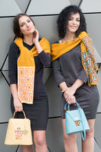 Load image into Gallery viewer, TATI BODUCH Designer Handbag, AGATE Collection, genuine leather: mustard, knitwear: pink