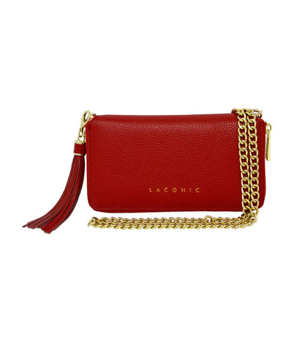 Laconic Style Trouvaille Leather Chain Clutch / Wristlet - Red