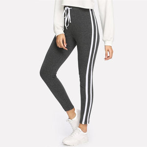 Grey Striped Drawstring Sweatpants