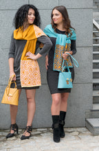 Load image into Gallery viewer, TATI BODUCH Designer Handbag, AGATE Mini Collection, genuine leather: mustard, knitwear: turquoise