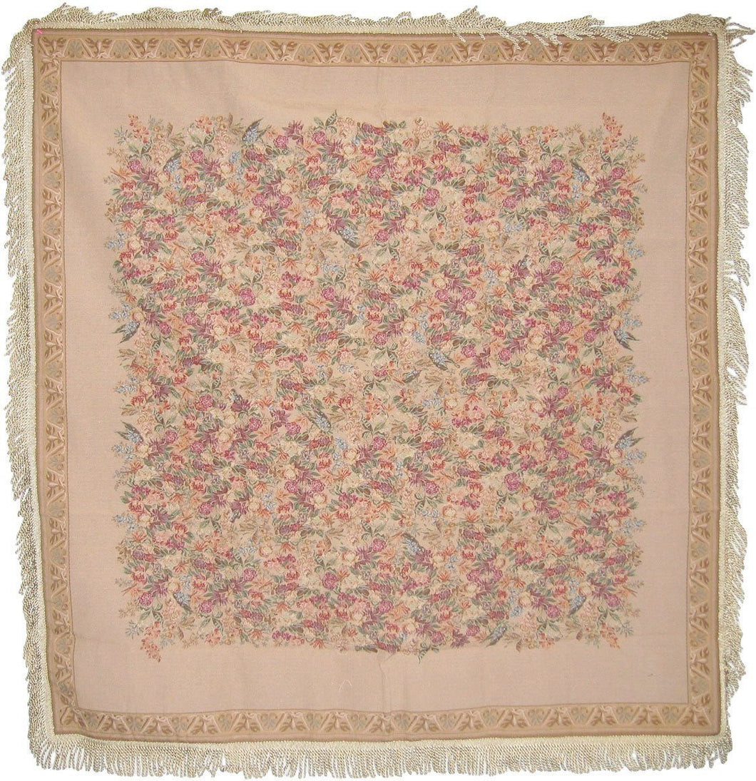 Woven Wildflower Wonderland Floral Beige Tan Square Shaped Tapestry Table Cloths