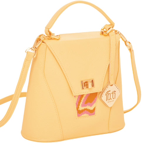 TATI BODUCH Designer Handbag, AGATE Mini Collection, genuine leather: yellow, knitwear: pink