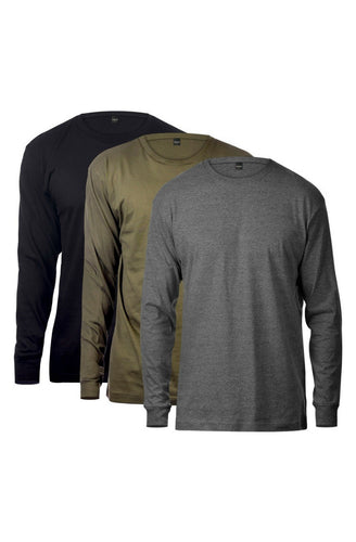 Basic Long Sleeve Tee 3 Pack (Black & Charcoal & Olive) - The Funding Ninjas
