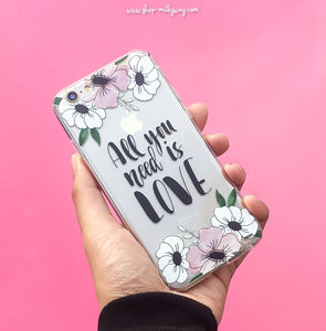 All You Need Is Love (Floral) - Clear TPU Case Cover - The Funding Ninjas