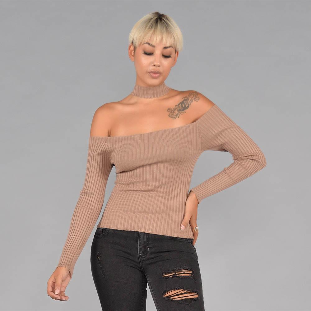 Long Sleeve Off the Shoulder Ribbed  Choker Top