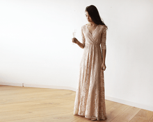 Load image into Gallery viewer, Lace three quarters Sleeve Blush-Pink maxi dress 1124