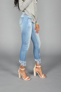 Cropped Frayed Denim Jeans - The Funding Ninjas
