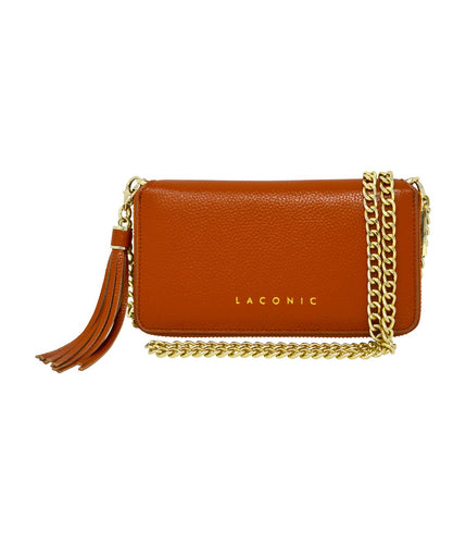 Laconic Style Trouvaille Leather Chain Clutch / Wristlet - Tan
