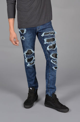 Distressed Leather Patched Jeans - The Funding Ninjas