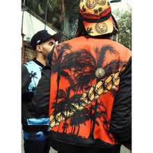 Load image into Gallery viewer, Mens Red Chain Palm Bomber Jacket