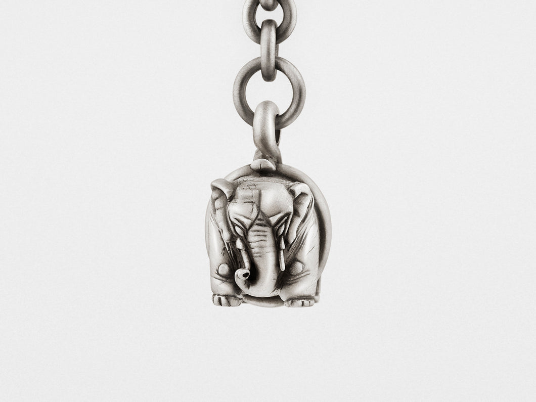 Elephant Keychain in Sterling Silver - The Funding Ninjas