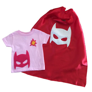 Pow - Superhero Tee & Cape Combo - Red