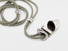 Load image into Gallery viewer, Snake Pendant Necklace with Tusk Locket and Ruby Eyes
