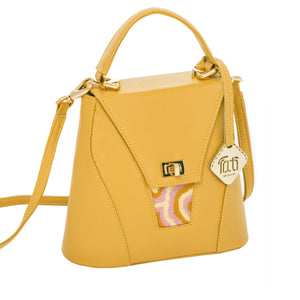 TATI BODUCH Designer Handbag, AGATE Collection, genuine leather: mustard, knitwear: pink