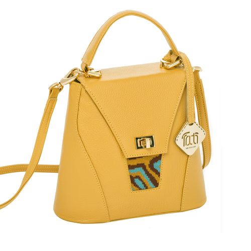 TATI BODUCH Designer Handbag, AGATE Mini Collection, genuine leather: mustard, knitwear: turquoise