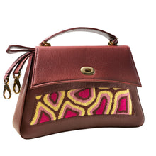 Load image into Gallery viewer, TATI BODUCH Designer Handbag, JASPER Collection, genuine leather: brown, knitwear: magenta