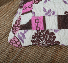 Load image into Gallery viewer, Bohemian Floral Chrysanthemum Vines Hot Pink & Brown Reversible Patchwork Quilted Coverlet Bedspread Set (KBJ1629) - The Funding Ninjas