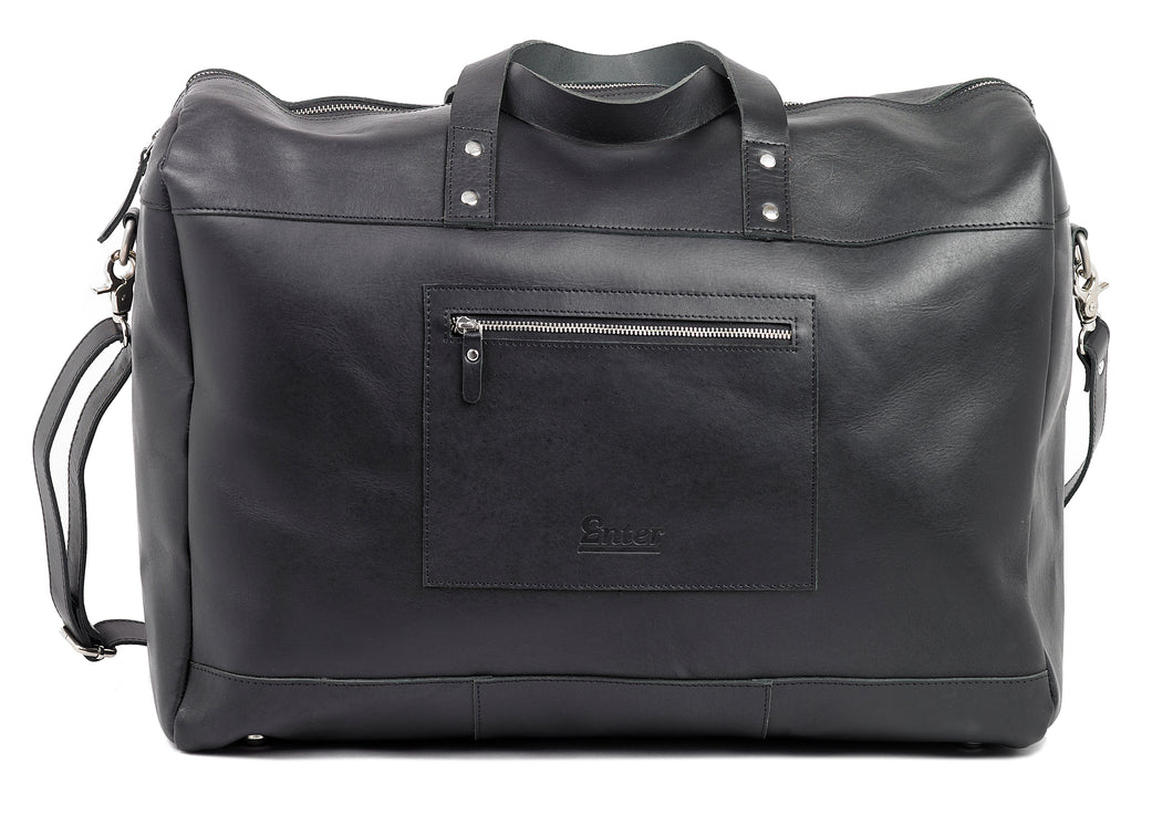 Black Leather Duffel Bag - The Funding Ninjas