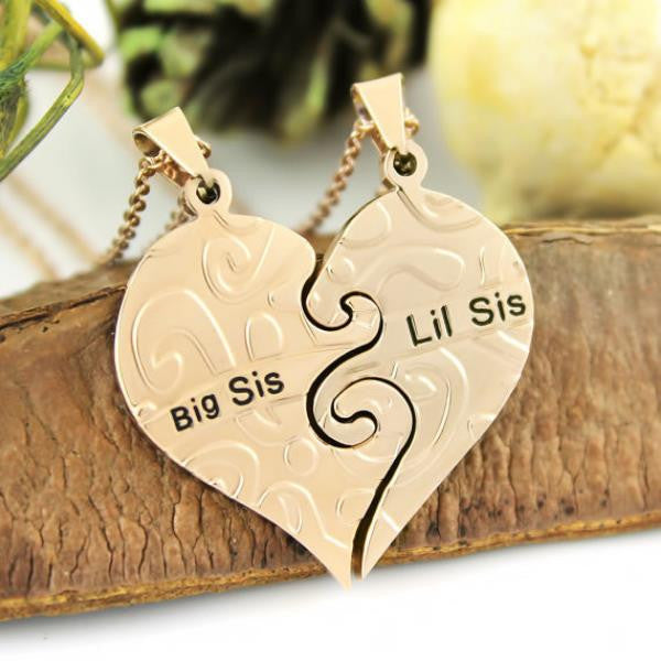 Sister Necklace Big Sis & Lil Sis Sister Gold Tone Necklace, Heart Necklaces Set (2pcs)